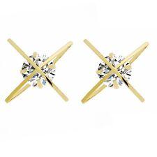 Lusso Marca Design Oro Bianco Zircone Orbe X Orbite Bottone Donna Orecchini E992