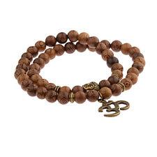 Wooden Bead Bracelet Buddha Ohm Meditation Prayer Rosary Men Women UK seller
