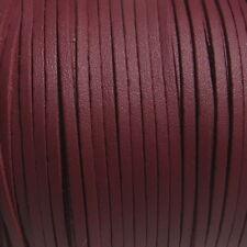 Lot de 3 mètres fil suédine 3x1mm cordon daim textile bordeaux façon cuir *C217