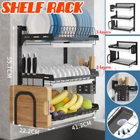 Large Wall Mount Kitchen Dish Rack Drain Drying Holder Drainer Shelf Organizer