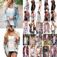 Women Boho Kimono Cardigan Kaftan Shawl Coat Swimwear Cover Up Blouse Top Summer