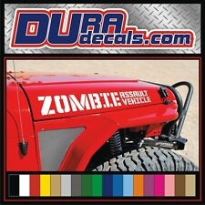 ZOMBIE ASSAULT VEHICLE Vinyl Hood Decals / Stickers Jeep Wrangler Rubicon