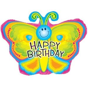 Happy Birthday Butterfly Balloon 22 inch foil girl decoration mylar party