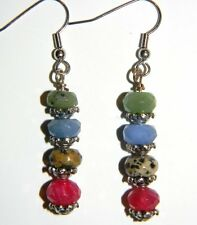 Jasper, Blue Jade Gemstone Earrings #13993 Captivating Cherry Quartz, Dalmation
