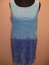 MARKS AND SPENCER BLUE MIX DRESS SIZE 12 - 14 TIE DYE STYLE COLOURS STRETCHY