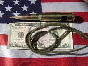 """1 50 cal bmg Bullet BALL POINT PEN & BEER BOTTLE OPENER PEN BLK 33"""" GREEN ROP"""