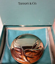 Tiffany & Co. Silver Plated Purse/Hand Leaf Mirror for Makeup, Beauty Accessory