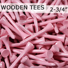 "100 pcs 2 3/4"" 70MM LONG LENGTH VIOLET PINK NEW GOLF NATURAL WOOD TEES TEE PGA"