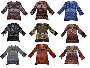 Indian Cotton Shirt Top For Ladies Women Blouse Ethnic Blusa Ethnic Hippie Retro