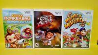 Super Monkey Ball Banana Blitz, Space Chimps, Mischief Nintendo Wii Games Lot