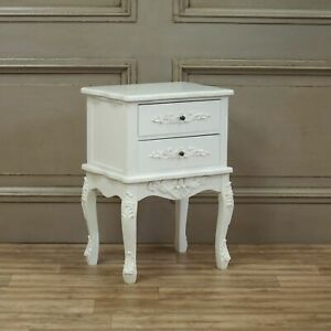 French Style Wooden Carved Chateau White 2 Drawer Bedside Table Night Stand