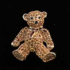 Signed Swan Swarovski Golden Crystal Bear Brooch Pin