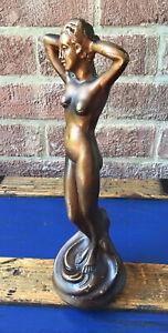 Art NOUVEAU Plaster Bronze Nude Figure Made In ENGLAND