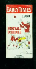 1960 Early Times pro (inc. AFL) and college football schedule booklet