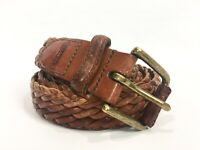 """Coach Mens Size 38 Belt Brown Woven Leather Distressed 3744 Brass Buckle Vtg 1"""""""