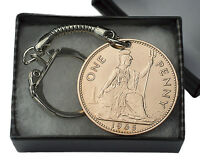 PENNY COIN KEYRING - BRITISH PENNY KEY RING CHOICE OF YEAR 1896 TO 1967 BIRTHDAY