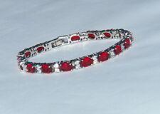 "Ruby Red Garnet Tennis Bracelet, Oval Cut, 18K White Gold Plate, 7.25"" Length"