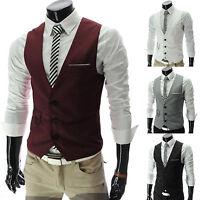 Men's Formal Casual Business Wedding Dress Vest Suit Slim Tuxedo Waistcoat Coat