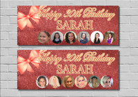 Birthday Party Banner Decoration Rose Gold Glitter Bow 18th/21st/30th/40th/50th