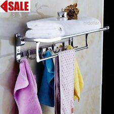 MIRROR CHROME BATHROOM FOLDABLE TOWEL RAIL RACK SHELF LAUNDRY HOLDER COAT HANGER