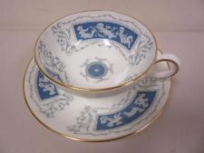 Coalport Revelry Bone China Cup and Saucer Set Cherubs Blue with Gold Trim