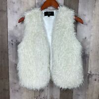 Jack. Womens Size Small Shag Vest Cream Open Front Sleeveless Lined Faux Fur