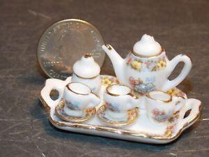 Dollhouse Miniature Tea Set 8p Teapot Plates 1:12 inch scale E28 Dollys Gallery
