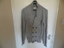 Gents Grey chunky knit long sleeve button up cardigan size S from River Island.