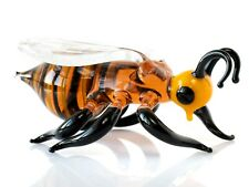 Orange Bee Glass Figurine, Blown Glass Art, Insect Miniature