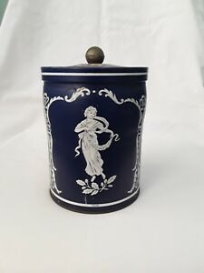 Vintage Wedgwood Style Blue & White Tin Canister ~ Mythical Ladies Dancing