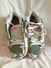 Etnies Kids Cinch White Grey Hot Pink Gold Leather Skate Shoes UK Size 2 BNWOB