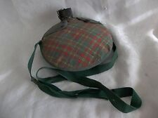 Vintage Girl Scout Canteen in Plaid Cover With Black Lid