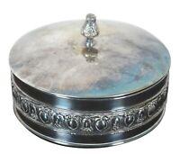 EL de Uberti Round Lidded Silver Plate Velvet Lined Italian Trinket Jewelry Box