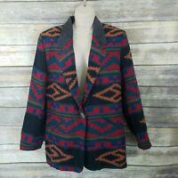 Pioneer Wear Sz M Vtg Southwestern Aztec Saddle Blanket Coat Blazer Leather Trim