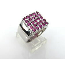 Fine 0.20ct Diamond & 1.0ct Ruby 18K White Gold Square Cluster Ring Size 7