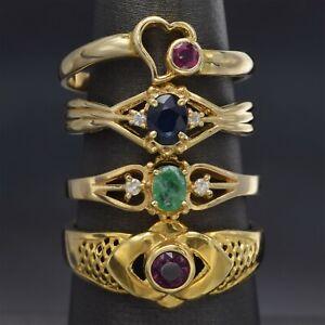 Lot of 4 14K Yellow Gold Emerald, Ruby, Sapphire & Diamond Band Rings 9.1 Grams