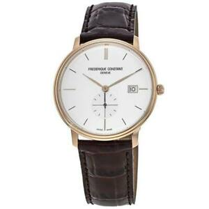 New Frederique Constant Slimline Silver Dial Leather Men's Watch FC-245V5S4