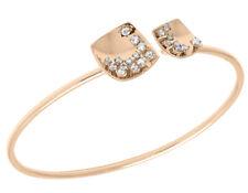 14K Rose Gold Real Diamond Ladies Square Flex Bangle 3/4 CT