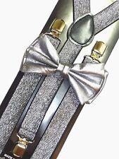 New Metallic Silver Bow Tie & Matching Suspender Tuxedo Wedding Accessories