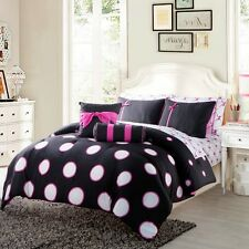 Big Polka Dots BowS Red Black / Black Pink Comforter Full 10 PCS Twin 8 PCS Set