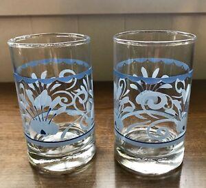 Retro Blue Flowers Decorated Juice Glasses  - Set Of 2
