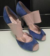 Office London Women Size 5 Blue Mix Heels Peep-Toe Shoes