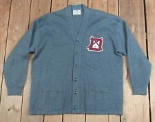 Vintage 1950s Campus Wool Varsity Cardigan Sweater 'D' Baseball Patch Duquesne