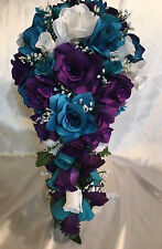 Teal Plum Purple Bridal Bouquet Package Silk Wedding Flowers Cascade 21pc