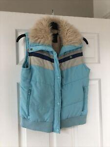 Eivissa - Blue - Padded Puffa Gilet - Bodywarmer - Ladies UK M - Faux Fur collar