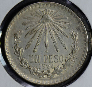 M0178 Mexico 1924 Peso silver AU cap and rays better date combine shipping