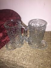 Cowboy Boot Glass Mug Libbey Mexico Beer Stein Raised Pattern-set of 2