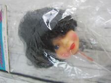 "Crafts Etc Vintage Doll Head Parts Dark Bob Pixie Black Hair Girl 1.5"""