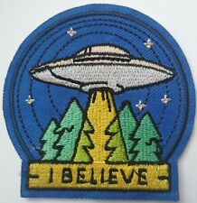 UFO Abduction I Believe Space Roswell Patch Embroidered Alien X Files