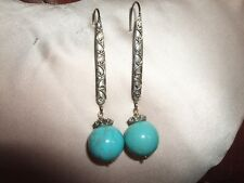 ORECCHINI PENDENTI EARRINGS TURCHESE TURQUOISE GANCETTO ARGENTO 925 SILVER STERL